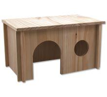 Domek SMALL ANIMAL dřevěný hladký 38 x 23 x 21 cm 1ks