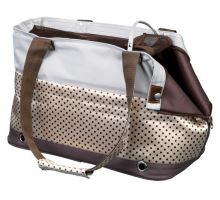 Cestovní taška MARILLA hnědo/béžová s puntíky - Doprodej vel. 21x27x46