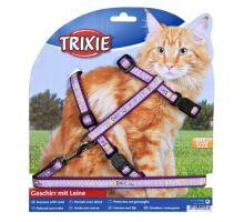 Postroj pro kočku s vodítkem XL fialový 34-57/13 mm