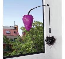 Bláznivá myš s přísavkou na okno, 3 vyměnitelné hračky 12 cm