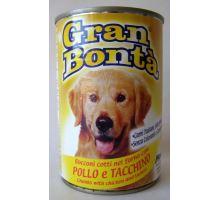 Gran Bonta konzerva kuře, krůta pro psy 1230g