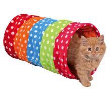 Barevný tunel pro kočky, flízový 25x50 cm