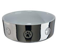 Keramická miska pro psy s packami stříbrno/bílá